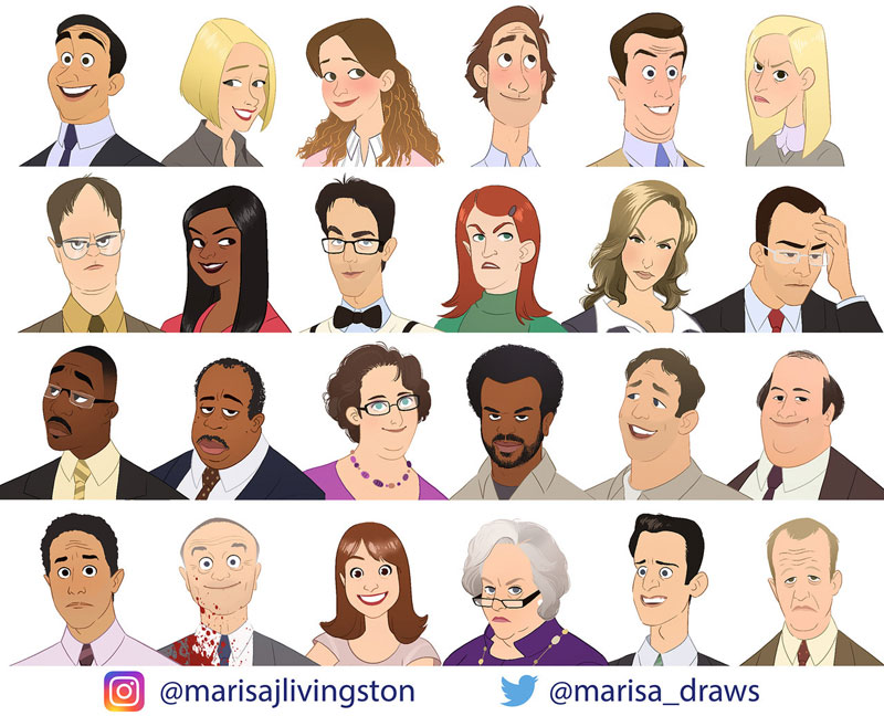 cast of the office as cartoon characters by marisa livingston 19 What Each Character Would Look Like in a Cartoon Version of The Office