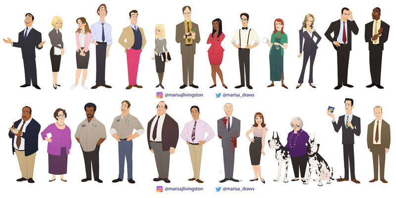 cast of the office as cartoon characters by marisa livingston 20 What Each Character Would Look Like in a Cartoon Version of The Office
