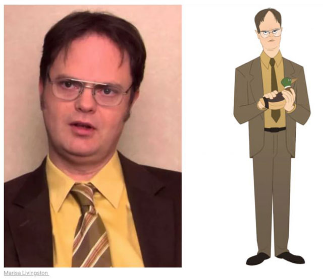 cast of the office as cartoon characters by marisa livingston 3 What Each Character Would Look Like in a Cartoon Version of The Office