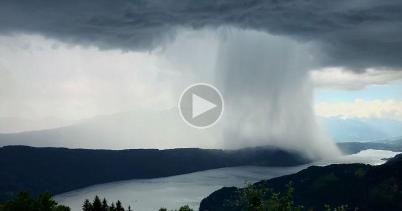 Timelapse Captures Incredible Cloudburst Over Austria's Lake Millstatt