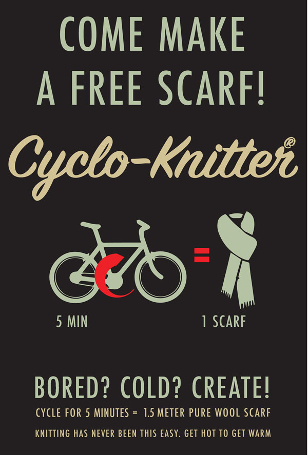 cyclo knitter by george barratt jones 8 Bored Commuters Can Ride This Bike and Knit a Scarf With 5 Minutes of Cycling