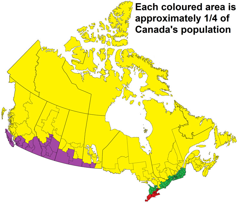 each colored area is approximately a quarter of canadas population1 Each Colored Area is Approximately 1/4 of Canadas Population