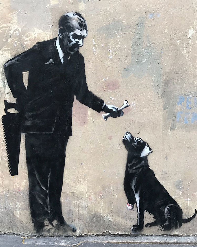 new banksy in paris france 6 Banksy Just Blitzed Paris With At Least 10 New Pieces