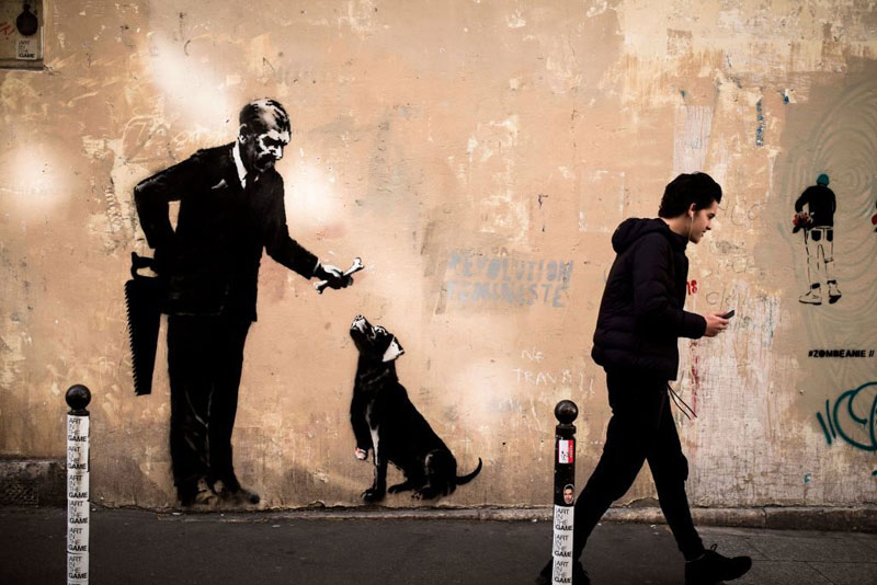 new banksy in paris france 9 Banksy Just Blitzed Paris With At Least 10 New Pieces