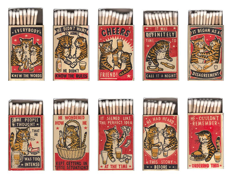 strike your fancy by arna miller and ravi zupa 3 Vintage Matchbox Style Artworks of Cats Making Questionable Decisions