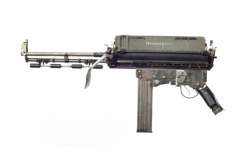 typewriter gun sculptures by ravi zupa mightier than series 10 Sculptural Guns Made from Typewriters Because Words are Mightier