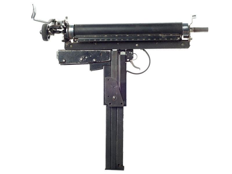 typewriter gun sculptures by ravi zupa mightier than series 3 Sculptural Guns Made from Typewriters Because Words are Mightier