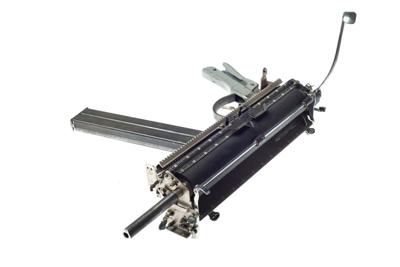 typewriter gun sculptures by ravi zupa mightier than series 5 Sculptural Guns Made from Typewriters Because Words are Mightier
