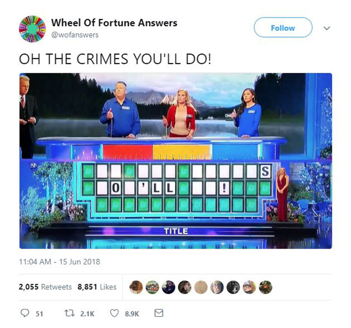 wheel of fortune answers twitter parody account 10 This Wheel of Fortune Parody Accounts Attempts to Solve the Puzzle are Amazing