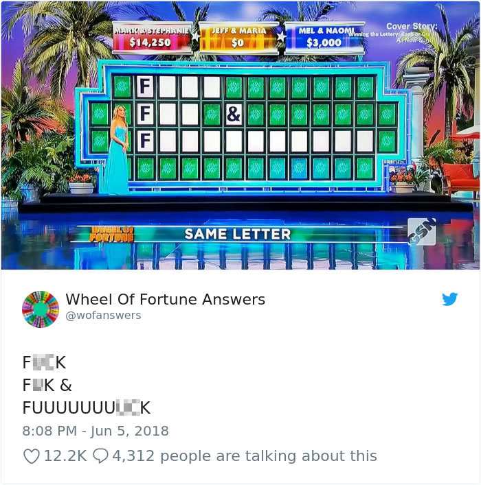 wheel of fortune answers twitter parody account 16 This Wheel of Fortune Parody Accounts Attempts to Solve the Puzzle are Amazing