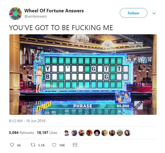 wheel of fortune answers twitter parody account 6 This Wheel of Fortune Parody Accounts Attempts to Solve the Puzzle are Amazing