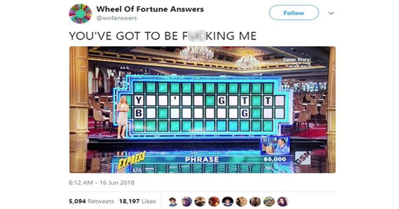 This Wheel of Fortune Parody Account's Attempts to Solve the Puzzle are Amazing