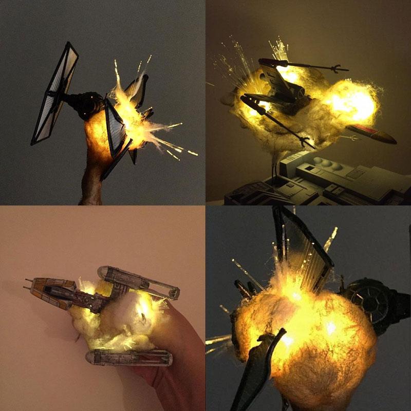exploding model star wars ships using cotton balls and leds 10 Exploding Model Star Wars Ships Using Cotton Balls and LEDs