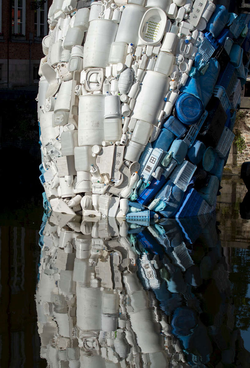 giant whale made from 10000 pounds of plastic ocean waste by studiokca bruges triennial 1 A 38 ft Tall Breaching Whale Made From 10,000 Pounds of Plastic Ocean Waste