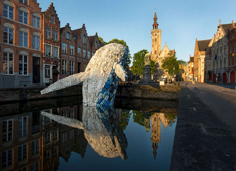 giant whale made from 10000 pounds of plastic ocean waste by studiokca bruges triennial 2 A 38 ft Tall Breaching Whale Made From 10,000 Pounds of Plastic Ocean Waste
