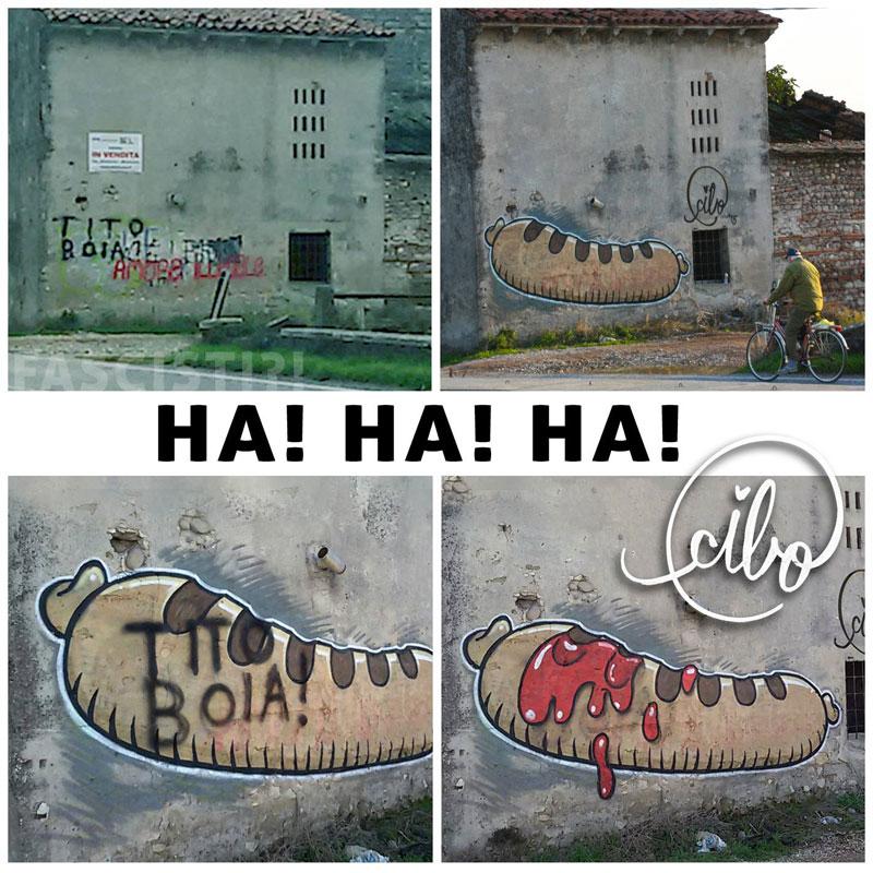 street artist cibo is fighting nazis with giant images of food 1 This Street Artist is Fighting Nazis With Giant Images of Food
