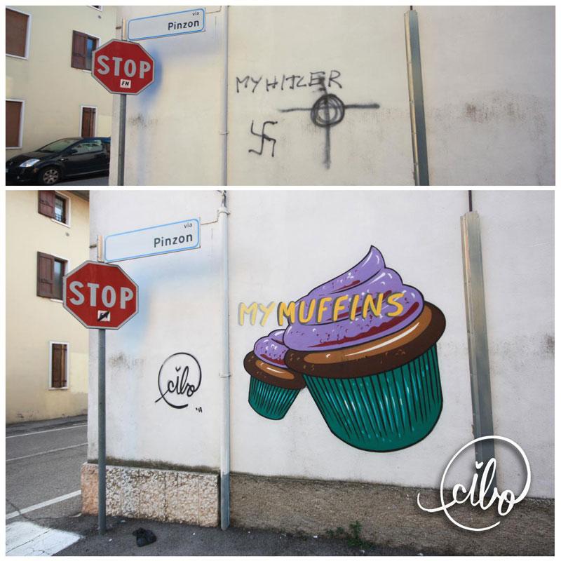 street artist cibo is fighting nazis with giant images of food 10 This Street Artist is Fighting Nazis With Giant Images of Food