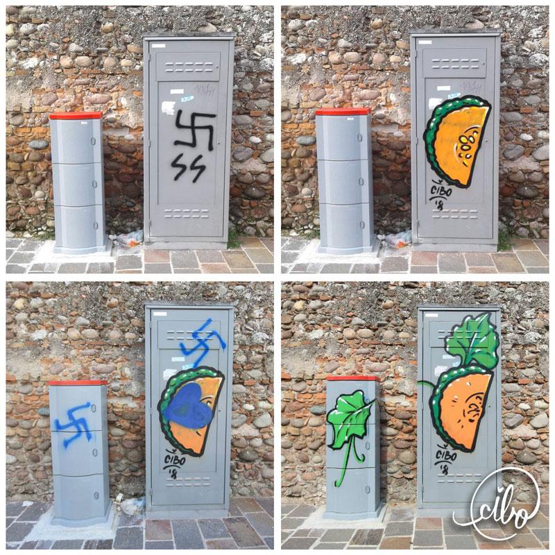 street artist cibo is fighting nazis with giant images of food 13 This Street Artist is Fighting Nazis With Giant Images of Food