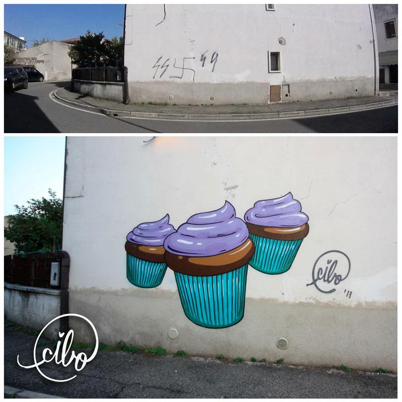 street artist cibo is fighting nazis with giant images of food 9 This Street Artist is Fighting Nazis With Giant Images of Food