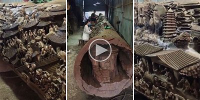 This Giant Tree Trunk Carving Looks Insane