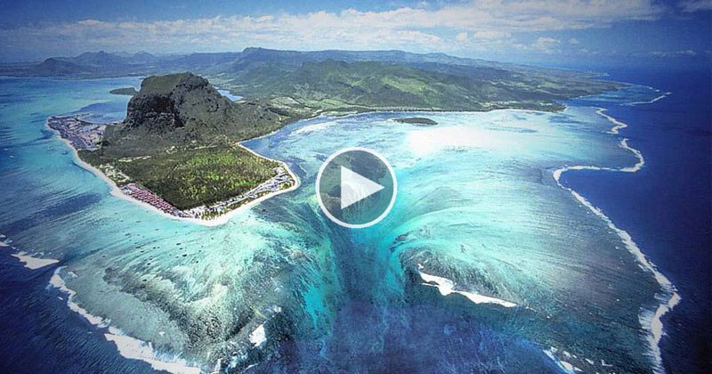 Drone Captures Video of Mauritius' Underwater Waterfall Illusion from Above