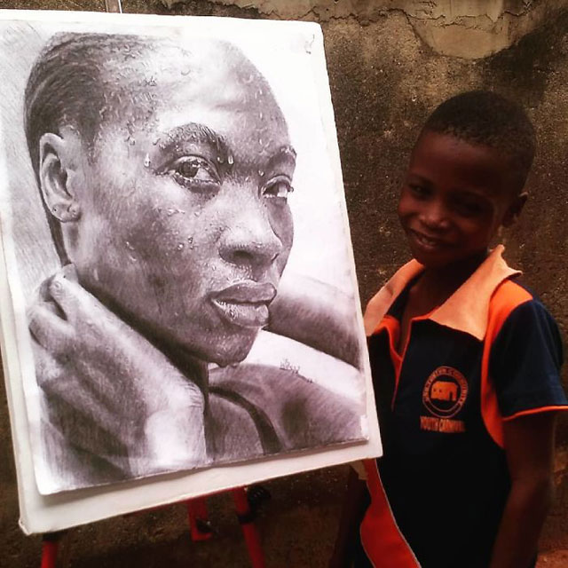 11 year old hyperrealist artist kareem waris olamilekan waspa nigeria 10 11 Year Old Hyperrealist from Nigeria Wows With Stunning Artworks