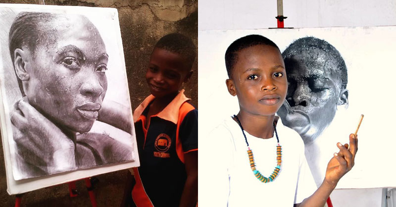 11-Year-Old Hyperrealist from Nigeria Wows With Stunning Artworks