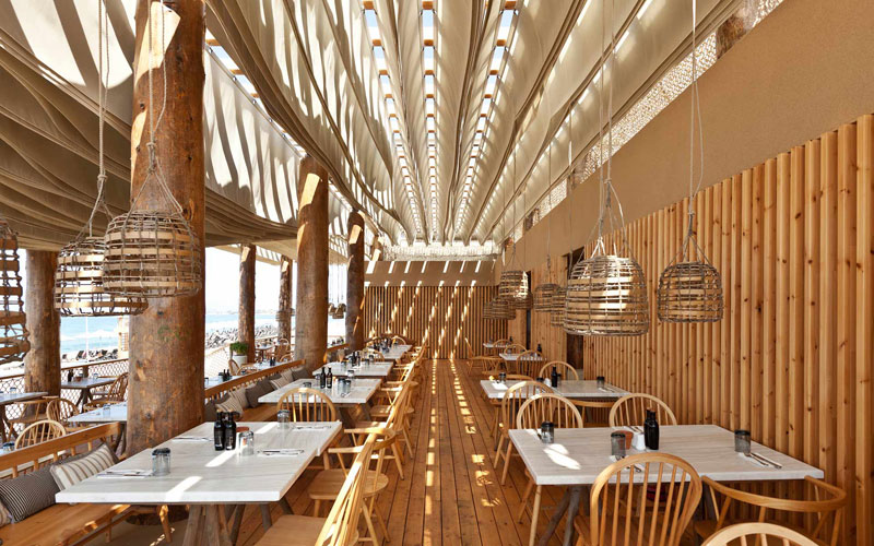 ceiling waves wind ripples beach bar barbouni greece by k studio 6 Check Out What Happens When the Wind Hits the Ceiling of this Beach Bar