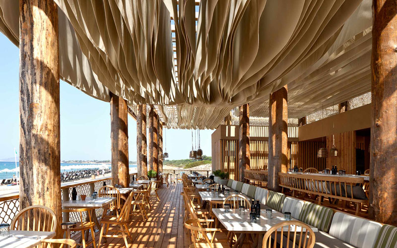 ceiling waves wind ripples beach bar barbouni greece by k studio 7 Check Out What Happens When the Wind Hits the Ceiling of this Beach Bar