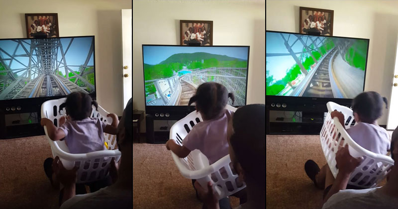 Awesome Dad Makes Roller Coaster Ride for Daughter With a LaundryBasket