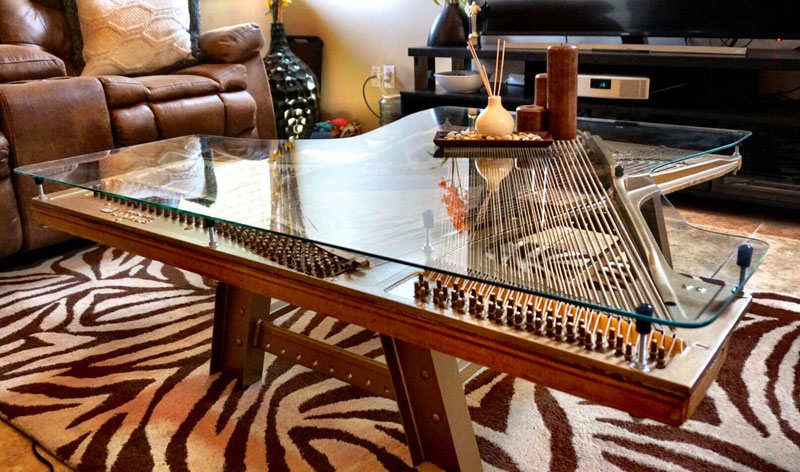 old piano turned into coffee table Abandoned and Broken Piano Finds News Life as Beautiful Coffee Table