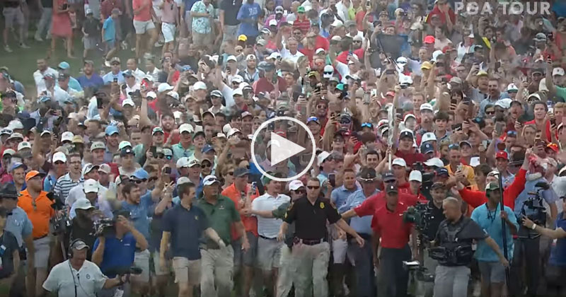 The Crowd Following Tiger Woods to the 18th Green Was Absolutely Incredible