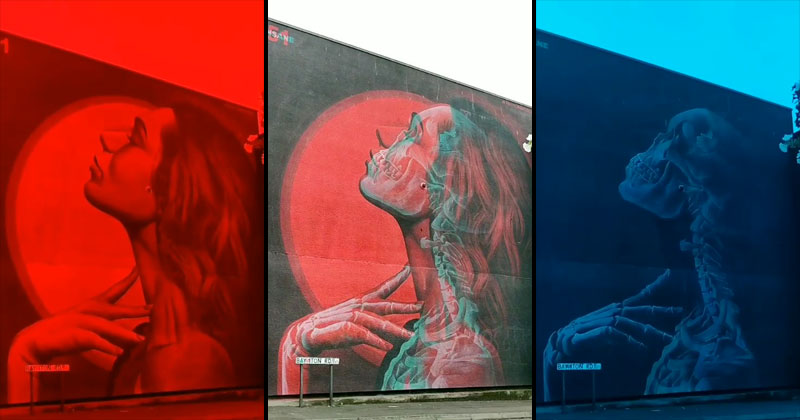 double exposure murals that show multiple artworks with 3d glasses