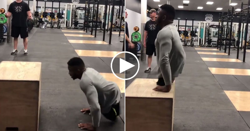 Zion Clark, a Collegiate Wrestler Born Without Legs, Doing Box Jumps