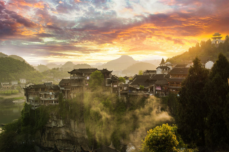 waterfall city china furong zhen town hibiscus town wang village 3 This Waterfall City in China Looks Straight Out of a Fantasy Film