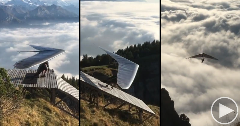 Yes, Hang Gliding Off a Ramp at the Top of a Mountain Looks as Cool as it Sounds