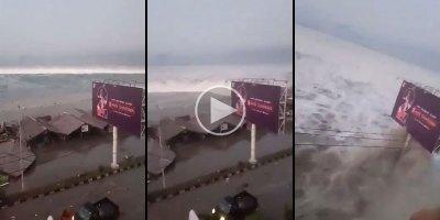 Raw Video Captures the Terrifying Moment a Tsunami StrikesIndonesia
