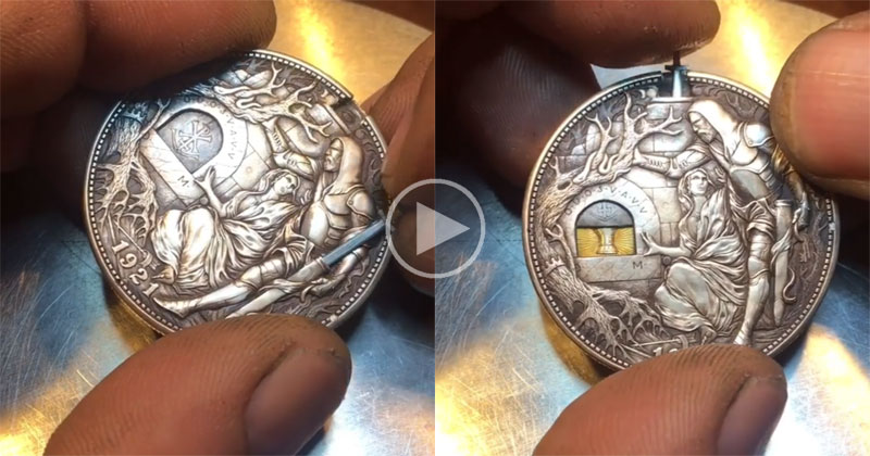 This Custom Engraved Sword Coin by Roman Booteen isAwesome