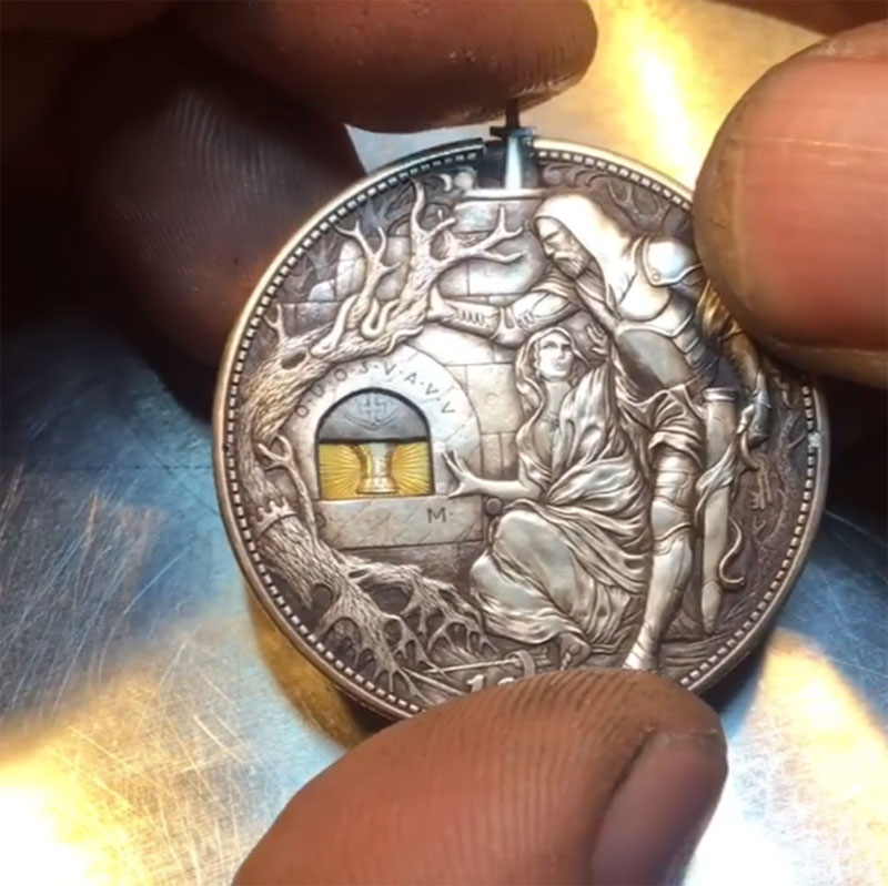sword coin by roman booteen 5 This Custom Engraved Sword Coin by Roman Booteen is Awesome