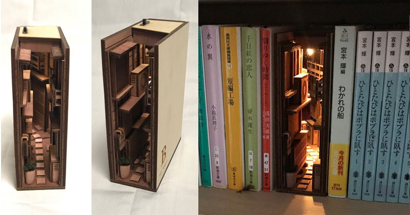 Beautiful Wooden Bookshelf Inserts by Japanese Artist Monde