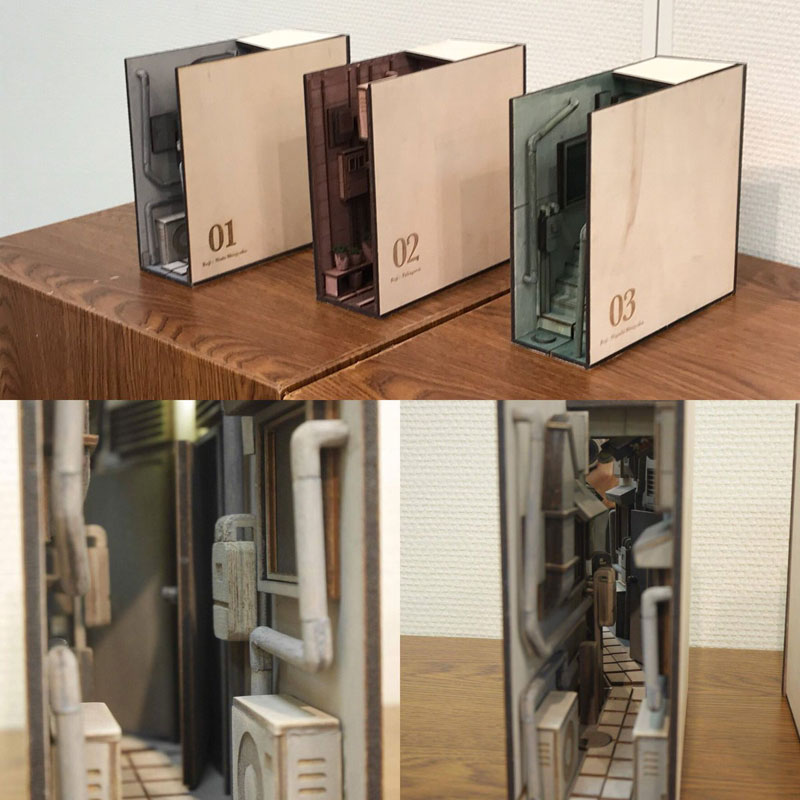 bookshelf insert woodwork by monde 4 Beautiful Wooden Bookshelf Inserts by Japanese Artist Monde