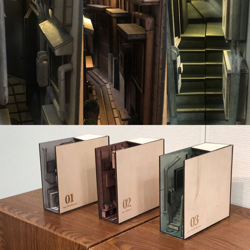 bookshelf insert woodwork by monde 5 Beautiful Wooden Bookshelf Inserts by Japanese Artist Monde