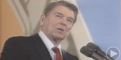 President Reagan Reacting to a Balloon Popping 2 Months After He WasShot