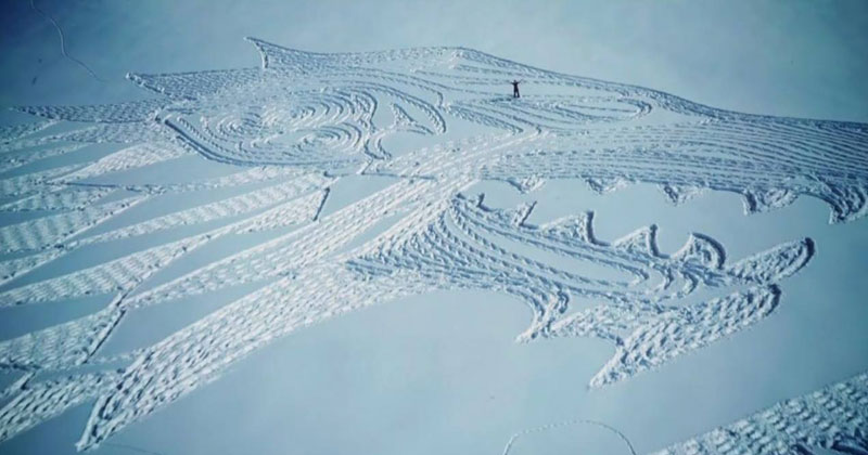 A Giant Direwolf in the Mountains Made from Snowshoe Prints