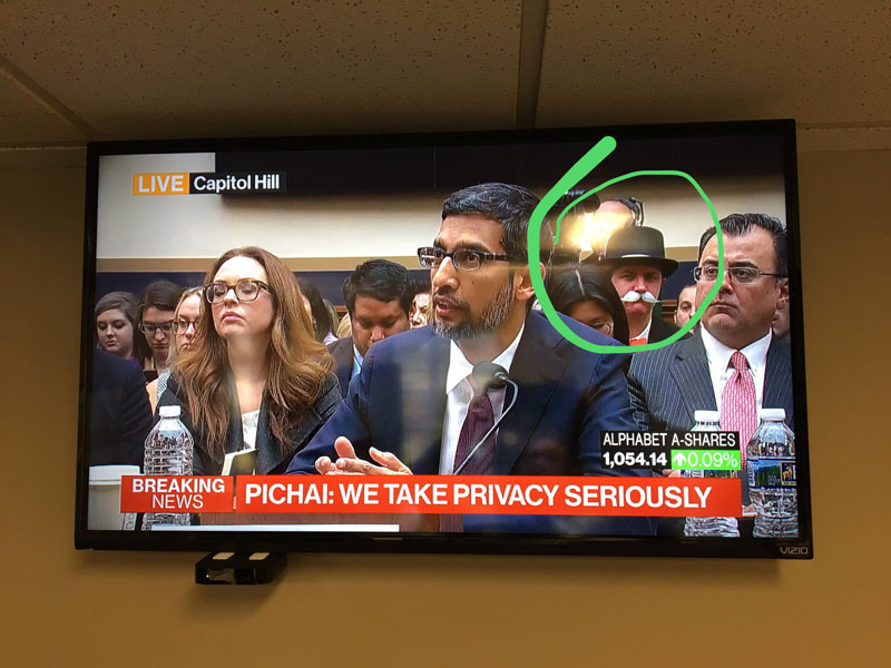 monopoly man at google ceo sundar pichai congressional hearing 4 The Monopoly Man Showed Up At Googles Congressional Hearing Today