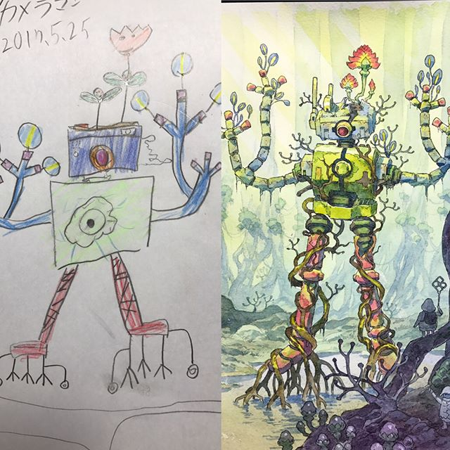 thomas romain illustrates his kids drawings 11 Animator Dad Illustrates His Kids Drawings and Everything is Awesome