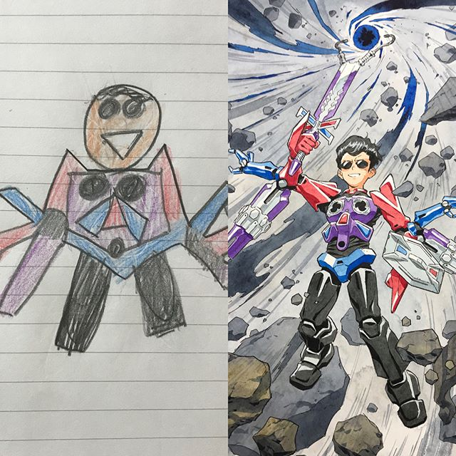 thomas romain illustrates his kids drawings 25 Animator Dad Illustrates His Kids Drawings and Everything is Awesome
