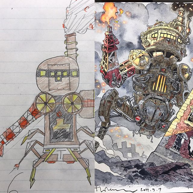 thomas romain illustrates his kids drawings 8 Animator Dad Illustrates His Kids Drawings and Everything is Awesome