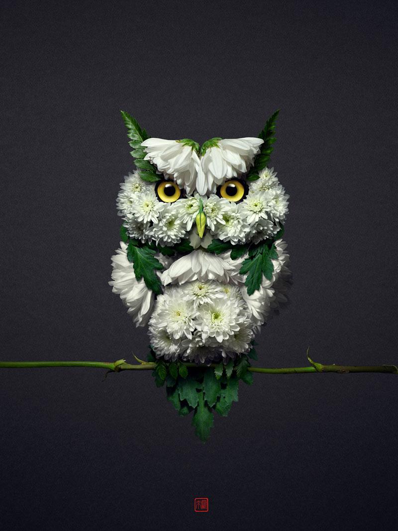 animal portraits made from flowers raku inoue 6 When Kingdoms Collide: Animal Portraits Made from Floral Arrangements