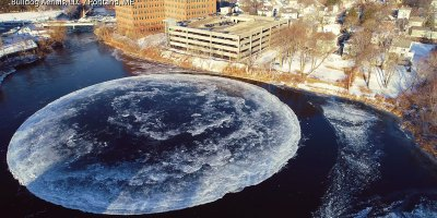 Drone Captures Strange Giant Rotating Ice Circle From Above